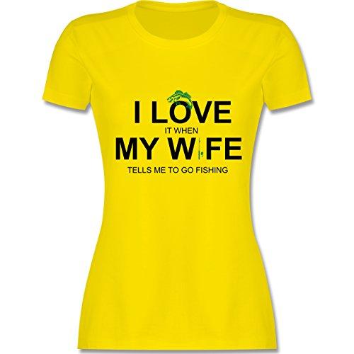 Angeln I Love It When My Wife Tells Me To Go Fishing tailliertes Premium  TShirt mit Rundhalsausschnitt für Damen Lemon Gelb