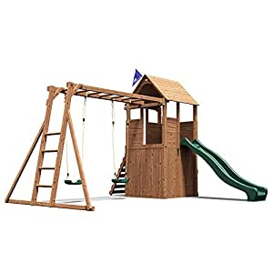 Dunster House FortPlus Escape Wooden Children's Outdoor Climbing Frame with Monkey Bars, Swings & Slide - Pressure Treated Timber