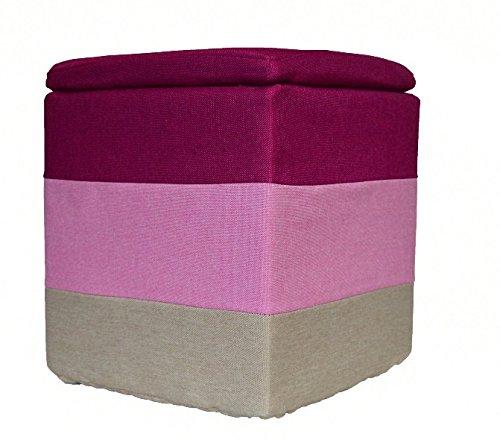 Keraiz - pouf poggiapiedi dal design retrò quadrato in tessuto colorato