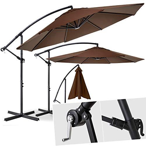 Kesser® Alu Ampelschirm Ø 300 cm ✔mit Kurbelvorrichtung ✔UV-Schutz ✔Aluminium ✔Wasserabweisende Bespannung - Sonnenschirm Schirm Gartenschirm Marktschirm Braun