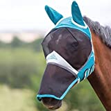 Shires Fine Mesh Fly Mask With Ears and Nose Extension - Teal: Full