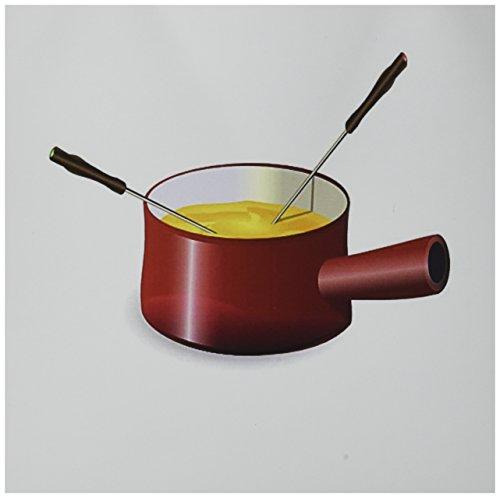 3drose Retro Fondue-Topf mit Käse–Grußkarten, 15,2x 15,2cm, Set 6(GC _ 41654_ 1)