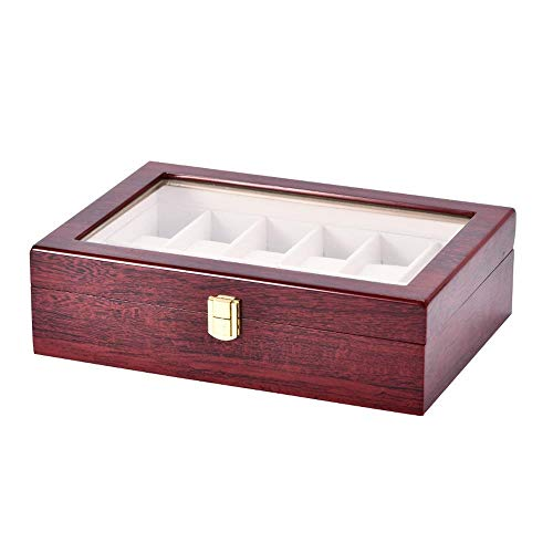 Uhrenbox für Uhren Eleganter Speicher auch für Sc Holz Uhr Display Aufbewahrungsbox Schmuck Sammlung Fall Veranstalter Halter, 12 Slot Uhrengehäuse PU Leder Echtglasdeckel (Farbe : 31 * 21 * 9 cm)
