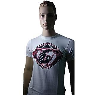SRAZDA - Tee-Shirt Blanc - Homme - Coupe ajustée au Niveau du Buste - Manches Courtes - Dessin Devant Velours et pailleté et écriture Dos