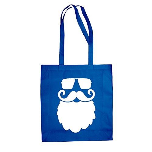Baumwolltasche Jutebeutel Cooler Weihnachtsmann Bart Fun Einkaufstasche rot-weiss