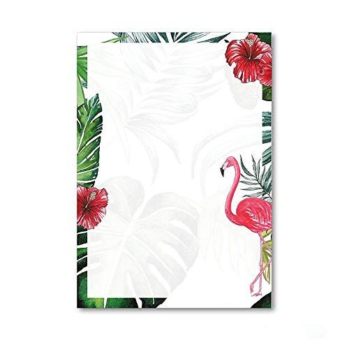 Briefpapier Set Flamingo I 50 Blatt Motiv-Papier in DIN A4 I rosa grün I Einladung Geburtstag Valentinstag Liebe Sommer I dv_209 -