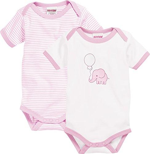 Schnizler Unisex Baby Formender Body Kurzarm, 2er Pack Elefant, Oeko-Tex Standard 100, Rosa (Rosa 14), 74 (Herstellergröße: 74/80)