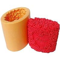 ➣ Moule en silicone pour une utilisation artisanale avec la fonte d'une forme cylindrique avec amour en écrivant avec des décorations en relief Rose - Convient également pour les bougies