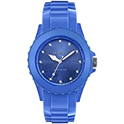 Damen-Armbanduhr mit Kristallen Swarovski Silikon bleu33
