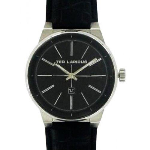 Ted Lapidus 5127601 - Reloj analógico de cuarzo para hombre con correa de piel, color negro