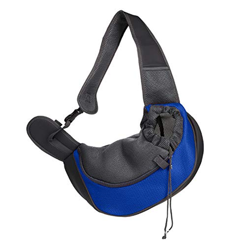 JFS Pet Sling Carrier, Hund Katze Schultertasche Umhängetasche Dog Pets Travel Carrier Bag Hand Verstellbare Größe Pet Travel Umhängetaschen,Blue,L (Baby Hund Sling Carrier)