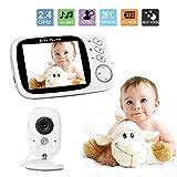 """3.2"""" Smart Baby Monitor, Babyphone con telecamera videosorveglianza, sensore di temperatura, canzone del sonno, visione notturna, funzione interfono"""