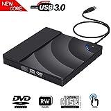 Exptool Externen DVD Laufwerk, USB 3.0 DVD/CD Brenner mit Berührungssteuerung für Laptops Unterstützt Windows/ Mac OS