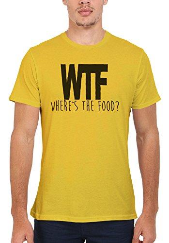 WTF Where is the Food Funny Men Women Damen Herren Unisex Top T Shirt Licht Gelb