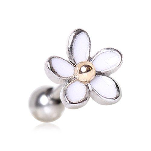 1 x weiße Emaille niedliche Daisy Blume 1,2 x 6 mm Chirurgenstahl Tragus/Knorpel Oberohr Ohrring Conch Barbell Stud Bar Piercing Schmuck