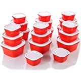 Slings Plastic Kitchen Storage Box Container Cereal Jar Idle For Kitchen- Food Rice Pasta Pulses Container (Set Of 20,Red)