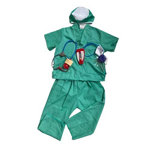 Amosfun Kinder Arzt Rollenspiel Outfit Halloween Cosplay Kostüme Set Doktor Dress up Chirurg Kostüme für Maskerade Party Zubehör