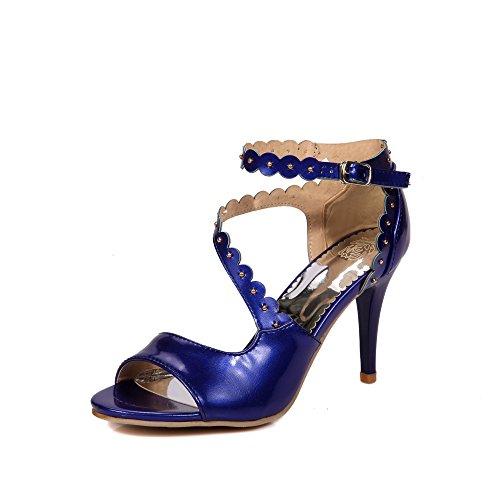 Pu artificiale XDGG modo delle donne High Heel traspirante Hollow Sandali di sera del partito da sposa blue