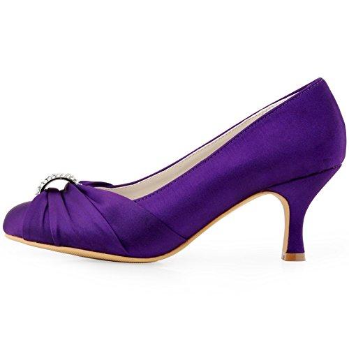 ElegantPark HC1526 Escarpins Femme satin Chaussures de mariee mariage bal Pourpre