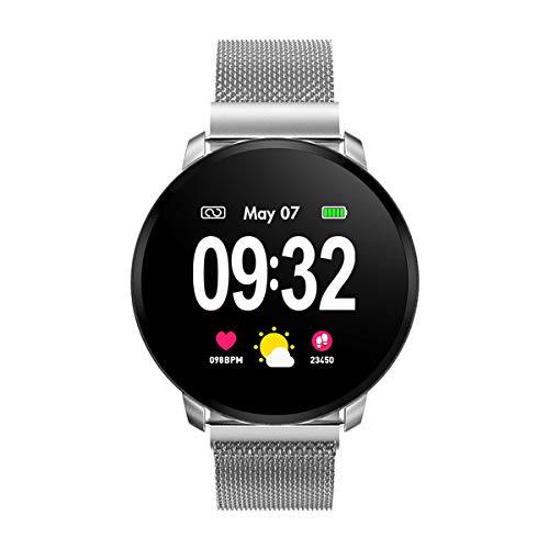 Smartwatch Damen Herren Fitness Armbanduhr mit Full-Touchscreen GOKOO Wasserdicht IP67 Fitness Tracker Aktivitätstracker Pulsuhren blutdruck uhr mit Kalorienzähler Schlafmonitor für Android IOS Silber
