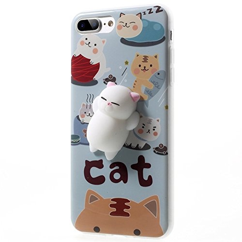 Finger Decompression phone case ,3D Soft Silicone Pinch Squishy Cat TPU Protective Back Cartoon Animal Apple phone Case for iphone 7Plus (5.5-inch) (Lazy rabbit) Cat's partner