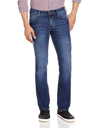 Wrangler Men's Skanders Straight Fit Jeans(8907222417185_WRJN6080_32W x 33L_Indigo Twist)