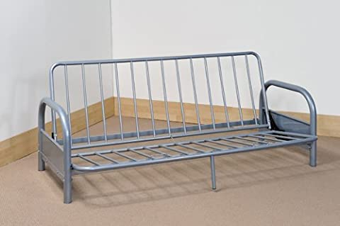 SILVER METAL FUTON FRAME - 3 SEATER SOFA CONVERTS TO FULL SIZE DOUBLE BED