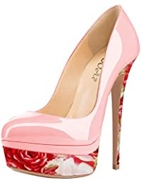 Frauen High Heels mit 10,5 cm Stiletto-Absatz in Schwarz-Braun und Größe 38 Klassische Abendschuhe in Lacklederoptik