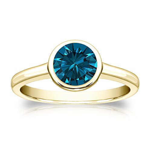 Diamond - 18 Karat Gelbgold Rundschliff Blue Blauer Diamant - Engagement Tiffany Diamant-ring