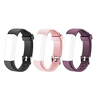 LETSCOM Replacement Bands for Fitness Tracker ID115U or ID115UHR, 3 Pack (Black, Pink, Purple)