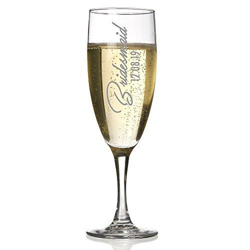 personalisierbar Champagner Flöte 5, Brautjungfern Geschenk, Bridal Party Geschenke, Prosecco Glas (Flöte Brautjungfer)