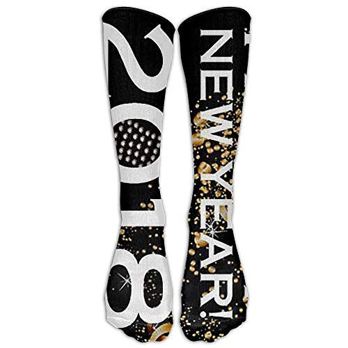 Novelty Gym Crew Long Stockings Sock Dress Happy New Year 2018 Over-the-Calf Comfortable Casual Running Knee High Socks One Size