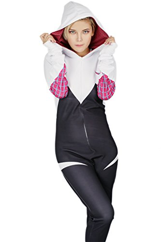 Pandacos Spider-Woman Kostüm Cosplay Costume Deluxe Jumpsuit Film Zubehör für Damen aus Lycra mit Kapuze