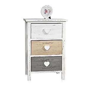 melko kommode shabby mit 3 schubladen herzgriffe wei grau braun used look holz 57 cm x 27. Black Bedroom Furniture Sets. Home Design Ideas