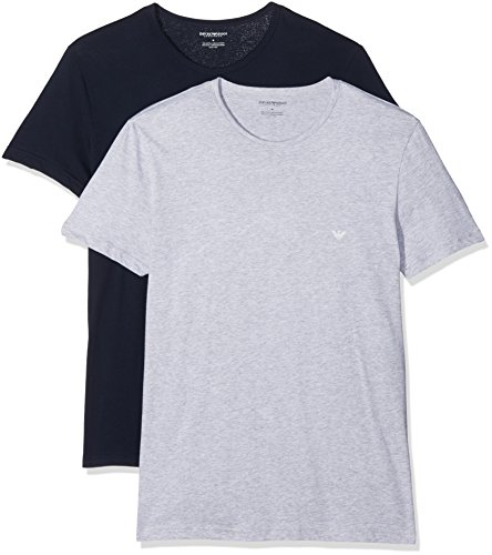 Emporio Armani Herren 2Pack Rundhals T-Shirts 111647 CC722 Vorteilspack 1blau 1grau