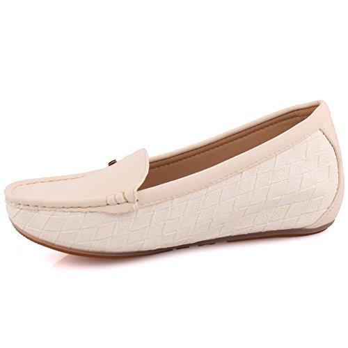 Oz Signore Signore Zini Comode Scarpe Basse Pantofole Mocassini Pompe Scarpe Taglia 3-8 - Mt81732 Beige