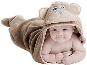 Little Tinkers World Asciugamano Orso per Bambini EXTRA SOFFICE - Asciugamano da Bagno 100% in Cotone - Perfetto per la Doccia dei Bambini - Per Neonati o Bambini Piccoli