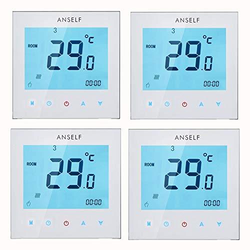 Anself 4 Stück Programmierbar Raumthermostat mit LCD Touch Screen Wasser Heizung Wöchentliche Room Thermostat Controller 3A 110 - 230 V -