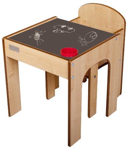 Little Helper FS01MC - Holz FunStation Kleinkind Tisch und Stuhl Set mit Stiftehalter, 24m+, Natur - Holz-team Stuhl