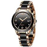 Damenuhren, Sunkta Damen Quarzuhr Mode Einfache Wasserdichte Keramikuhr Edelstahlband Rotgold Schwarz Armbanduhren Damen ST6615C