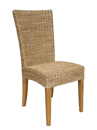 Casamia Rattan-Stuhl Esszimmerstuhl Cardine weiß oder braun Cappuccino ohne Sitzkissen, One Size