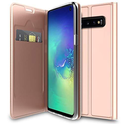 Verco Handyhülle für Galaxy S10, Premium Handy Flip Cover für Samsung Galaxy S10 Hülle [integr. Magnet] Book Case PU Leder Tasche 6,1 Zoll, Rosegold