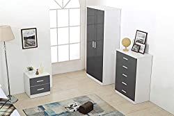 REFLECT - 3 Piece Bedroom Furniture Set - 2 Soft Close Door PLAIN Wardrobe + 5 Drawer Chest Drawers + 2 Drawer Bedside - High Gloss Grey Drawer Fronts & Matt White Carcass