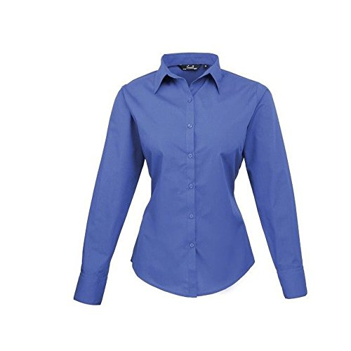 Premier Workwear Ladies Poplin Long Sleeve Blouse, Camicia Donna blu cobalto