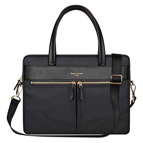 Cartinoe frauen laptop tasche tasche rfid - blockade ultrathin nylonfasergeschäfts schulter beutel handtasche für 15 - zoll - macbook ultrabook für damen in schwarz