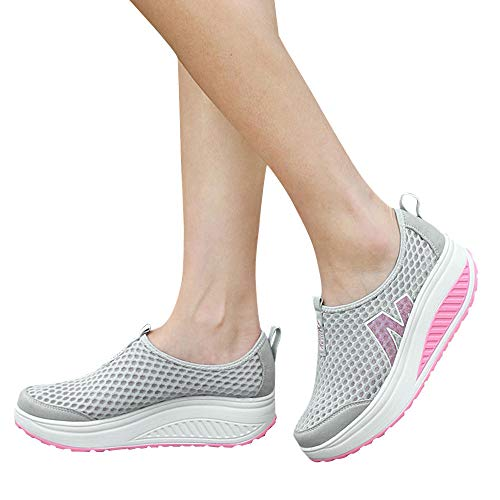 BHYDRY Moda Sneaker Donna Platform Scarpe Donna Mocassini Traspirante Air Mesh Swing Zeppe Scarpa(38EU,Grigio)