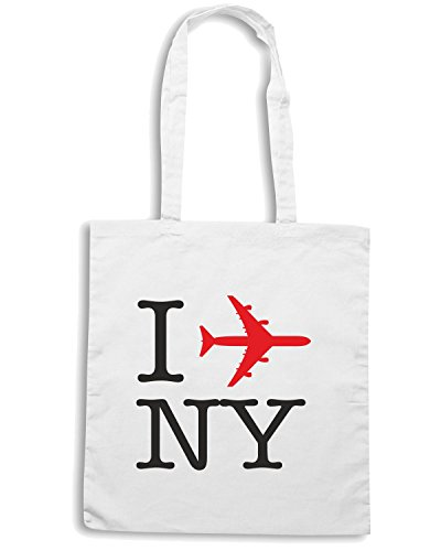 T-Shirtshock - Borsa Shopping T0023 I LOVE NY PLANE Bianco