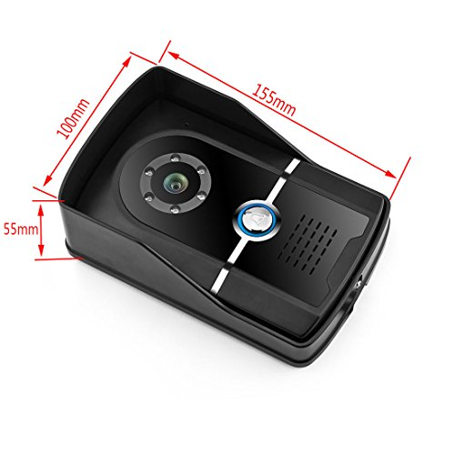 PUTECA 7 inch TFT LCD white and black Indoor unit 700TVL 6 IR LED Night vision Camera 5PCS ID card Black outdoor Unit Wire Video Door Phone Doorbell Intercom System 1 VS 2