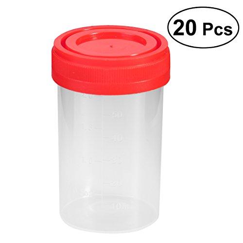 UEETEK 20 Stücke Praktische Kunststoff Probe Tasse Urin Container 60 Ml EO  Steril Ohne Lable Labor