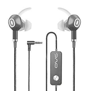 OVC Active Noise Cancelling Earphones Headphones Wired Earbuds - 60 Hours ANC Playtime, Dual Driver, Bass Enhancement, Volume Control with Microphone, 3.5mm Plug for Android (Grey)